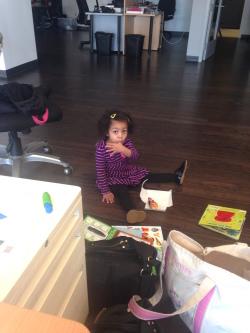 My daughter at RJMetrics office